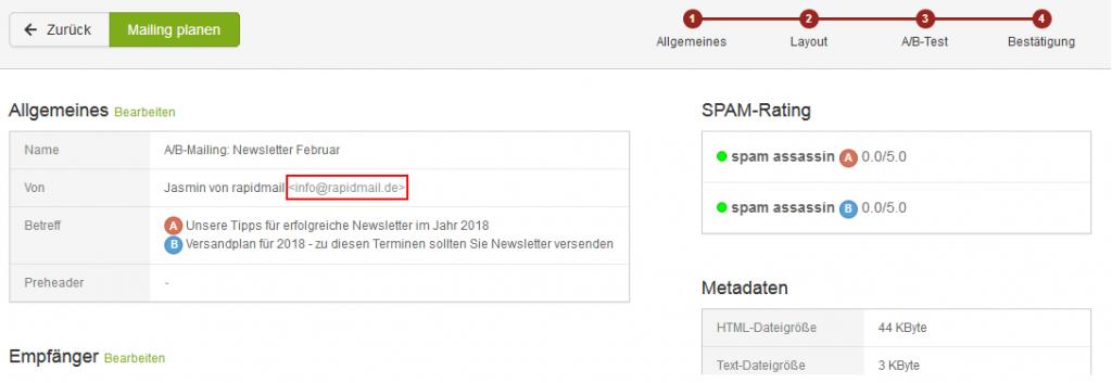 Welche Absender-Adresse wird im Postfach des Empfängers angezeigt