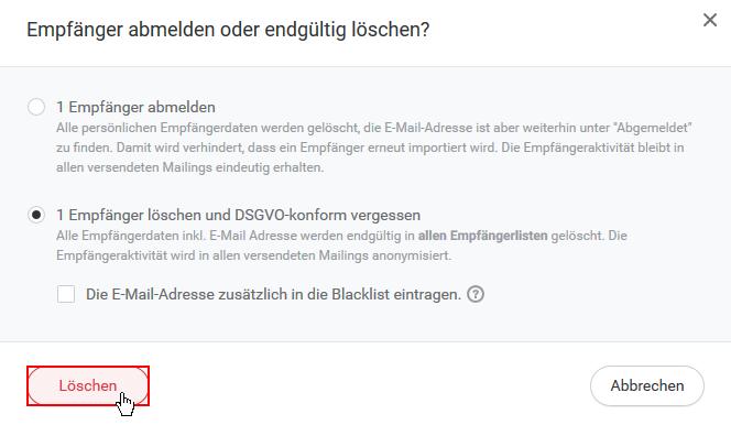Empfänger E-Mail Adresse DSGVO-konform löschen