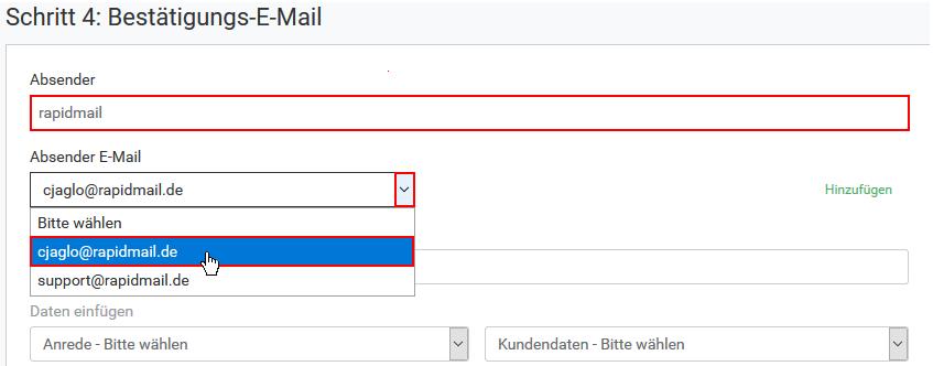rapidmail Newsletter Anmelde- und Abmeldeformular: Absender-Adresse von Bestätigungs-, Willkommens- oder Verabschiedungsmail ändern