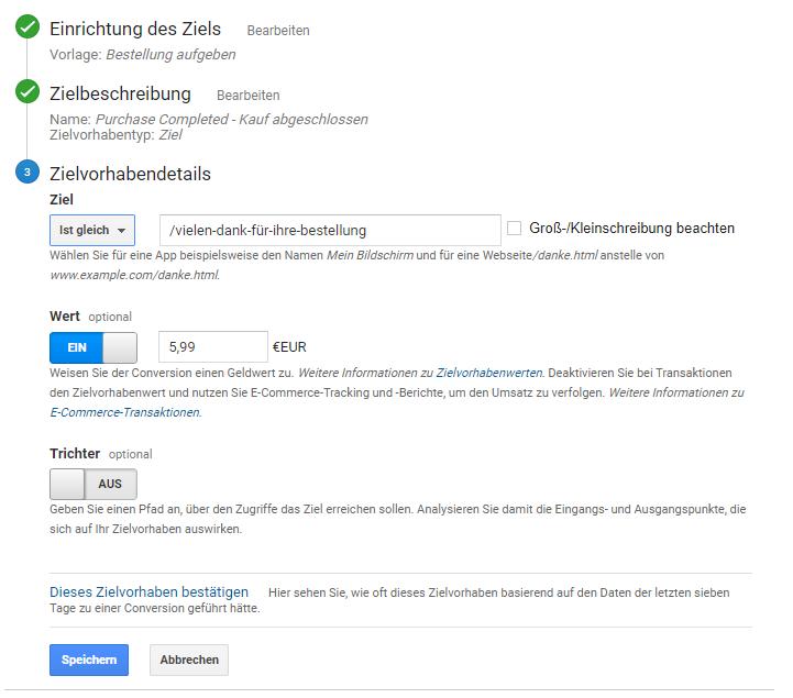 Zielvorhaben für Newsletter-Umsatz in Google Analytics anlegen