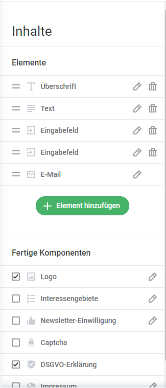 Inhalte-Formulare