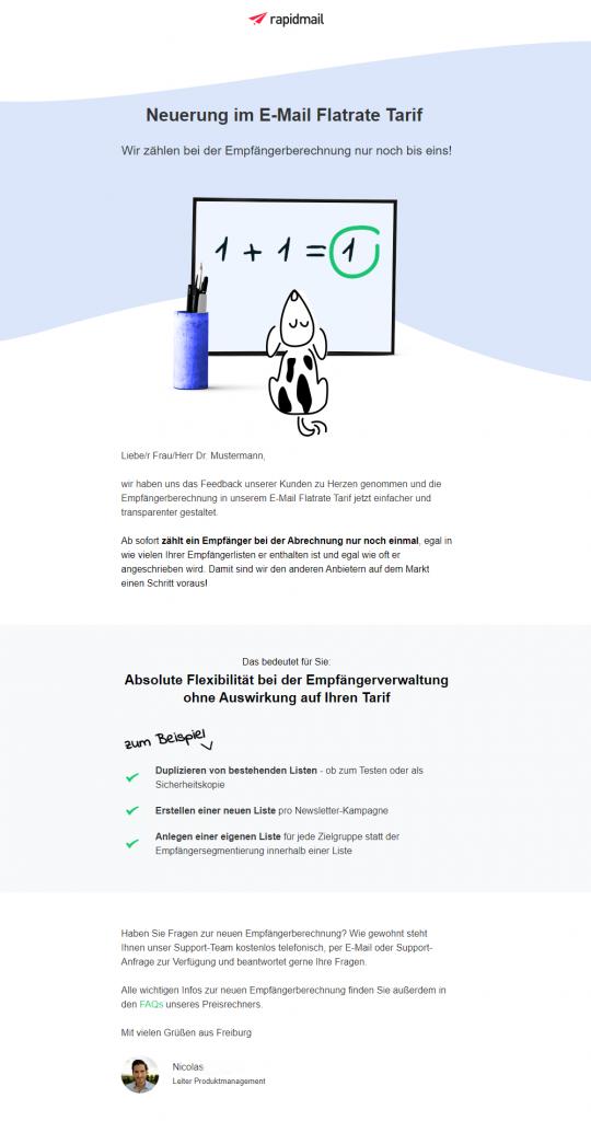 Newsletter mit einfachem Design und klarer Struktur