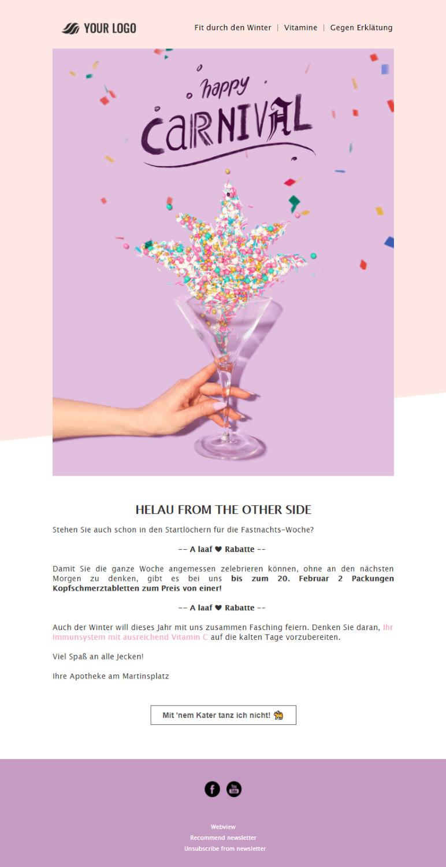 Kostenlose Vorlage für Karnevals-Newsletter